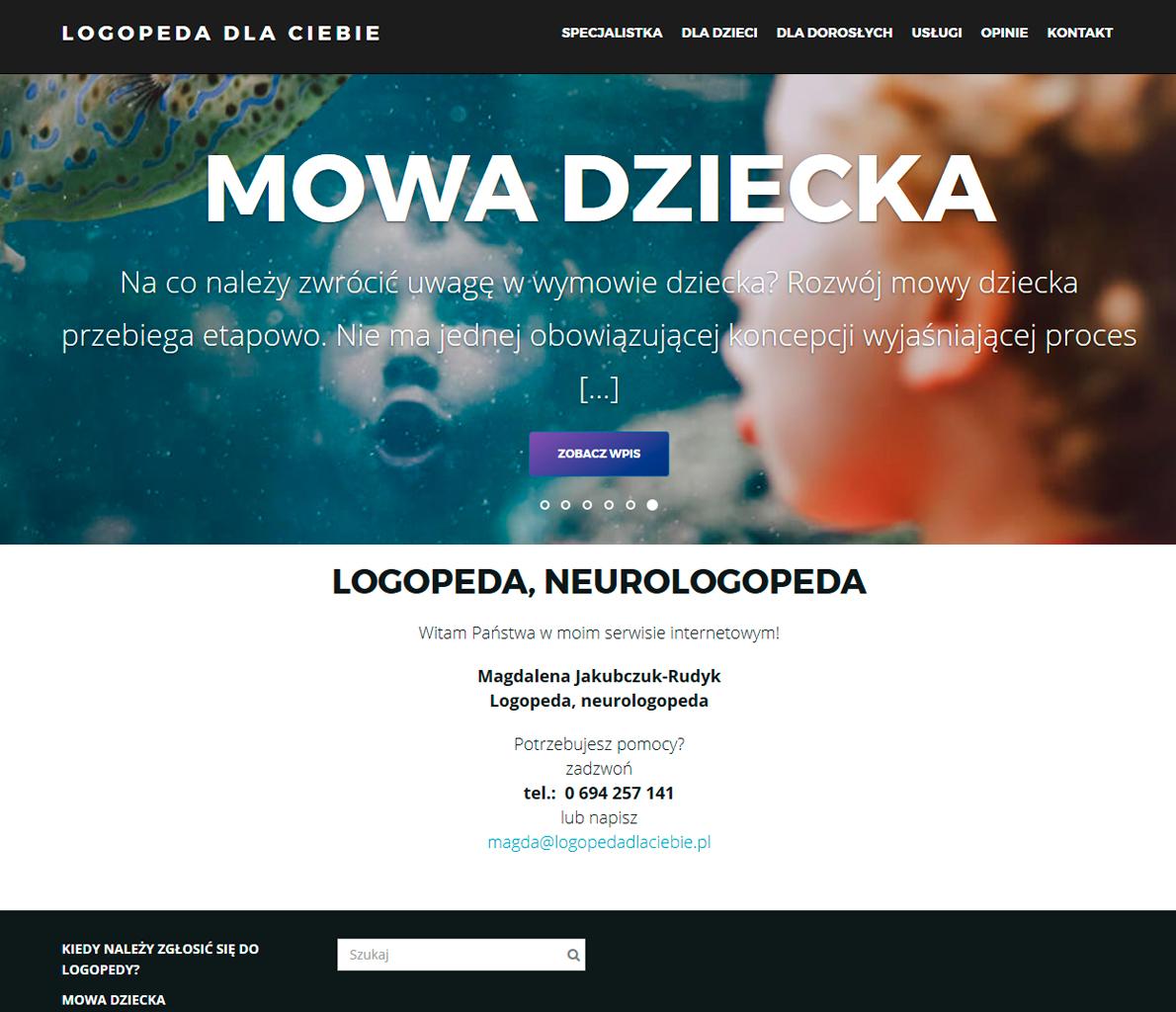 Logopeda dla ciebie - strona internetowa